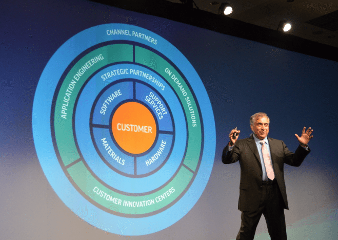 Vyomesh Joshi onstage during IMTS 2016, putting the customer at the center of strategy. Photo by Michael Petch