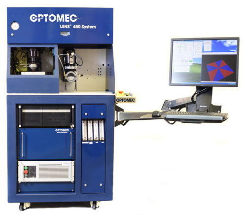 HUSUN's distribution of LENS 3D printers will start with the LENS 450 system. Image via Optomec